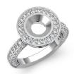 Round Diamond Engagement Bezel Halo Setting Semi Mount Ring 14k White Gold 1.5Ct - javda.com
