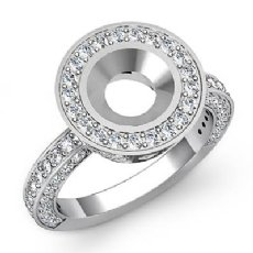 Round Diamond Engagement Bezel Halo Setting Semi Mount Ring 14k White Gold 1.5Ct