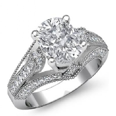 Milgrain 4 Prong Set Cushion diamond engagement Ring in 14k Gold White