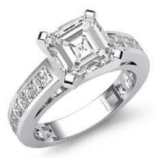 Channel Setting 4 Prong Asscher diamond engagement Ring in 14k Gold White