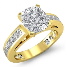 Channel-Set 4 Prong Peg Head Cushion diamond engagement Ring in 14k Gold Yellow