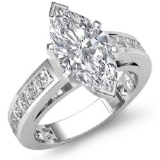 Channel-Set 4 Prong Peg Head Marquise diamond engagement Ring in 14k Gold White