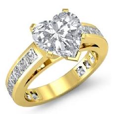 Channel-Set 4 Prong Peg Head diamond Ring 14k Gold Yellow