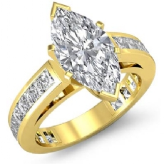Channel-Set 4 Prong Peg Head Marquise diamond engagement Ring in 14k Gold Yellow