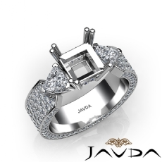 3Stone Diamond Engagement Ring Setting 14k White Gold Princess Semi Mount 2.4Ct.