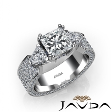 Three Stone Eternity Pave Princess diamond engagement Ring in 14k Gold White