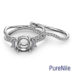 0.95Ct Three Stone Round Semi Mount Bridal Set Diamond Engagement Ring 14k White Gold - javda.com