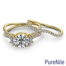 Three Stone Bridal Set Round diamond  Ring in 14k Gold Yellow