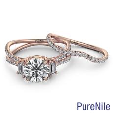 Three Stone Bridal Set Round diamond  Ring in 14k Rose Gold