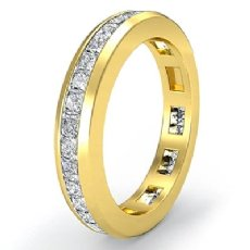 Channel Princess Diamond Wedding Ring Eternity Women Band 18k Gold Yellow  (1.3Ct. tw.)