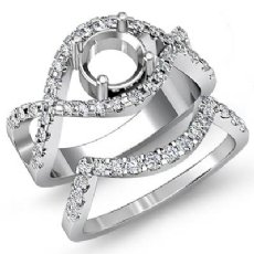 0.87 Ct Diamond Curve Shank Engagement Ring Round Bridal Setting 14K White Gold