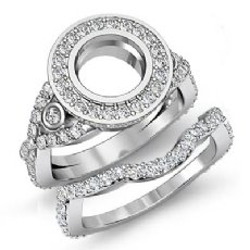 2.1Ct Round Diamond Engagement Halo Pave Setting Ring Bridal Set 14K White Gold