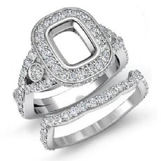 2.1 Ct Cushion Diamond Engagement Pave Ring Bridal Sets 14k White Gold Setting