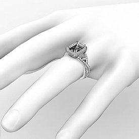 1.5CT Diamond Engagement Ring Emerald Semi Mount 14K White Gold Halo Setting