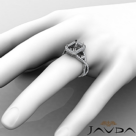 1.5CT Diamond Engagement Ring Radiant Semi Mount 14K White Gold Halo Setting