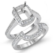 Diamond Engagement Halo Ring Cushion Bridal Sets 14k White Gold SemiMount 0.86Ct - javda.com