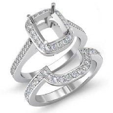 0.86Ct Diamond Engagement Halo Ring Cushion Bridal Sets 14K White Gold SemiMount