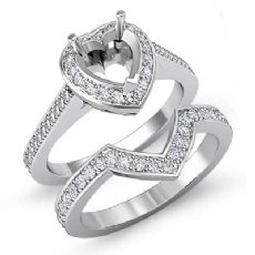 0.86 Ct Diamond Engagement Pave Ring Heart Bridal Sets 14K White Gold Semi Mount