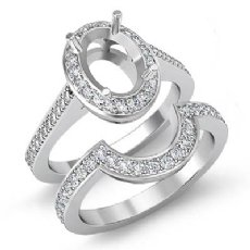 0.88 Ct Diamond Engagement Halo Ring Oval Bridal Sets 14K White Gold Semi Mount
