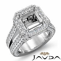 2.52Ct Diamond Engagement Ring Halo Setting 14k White Gold Asscher Semi Mount