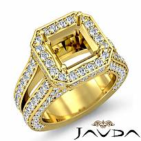 Diamond Engagement Ring Halo Setting 14k Gold Yellow Asscher Semi Mount (2.52Ct. tw.)