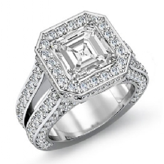 Pave Set Circa Halo Bridge Asscher diamond engagement Ring in 14k Gold White
