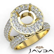 Round Shape Diamond Antique Semi Mount Engagement Ring Halo Setting 14k Gold Yellow  (2.25Ct. tw.)