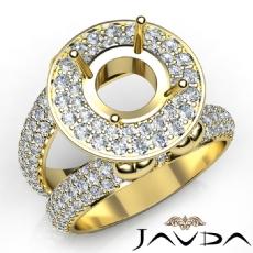 Round Shape Diamond Antique Semi Mount Engagement Ring Halo Setting 18k Gold Yellow  (2.25Ct. tw.)