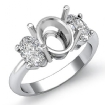 Oval Cut Diamond Three Stone Anniversary Semi Mount Ring 14k White Gold Setting 1Ct - javda.com