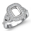 1.4Ct Halo Setting Diamond Engagement Cushion Semi Mount Ring 14k White Gold - javda.com