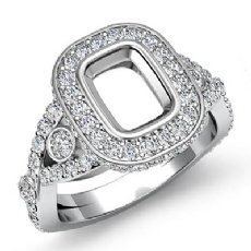 1.40CT Halo Setting Diamond Engagement Cushion Semi Mount Ring 14K White Gold