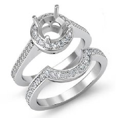 0.87Ct Diamond Engagement Pave Ring Round Bridal Sets 14k White Gold Semi Mount