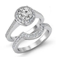 Filigree Pave Halo Bridal Set Round diamond engagement Ring in 14k Gold White