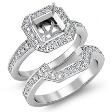 1.4 Ct Diamond Engagement Halo Ring Asscher Bridal Sets 14K White Gold Setting