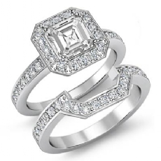 Halo Pave Setting Bridal Set Asscher diamond engagement Ring in 14k Gold White
