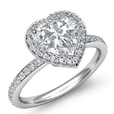 Basket Set Halo Pave Eternity Heart diamond engagement Ring in 14k Gold White