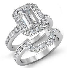 Halo Bridal Set Side-Stone Emerald diamond engagement Ring in 14k Gold White