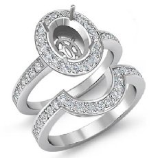 1.4Ct Diamond Engagement Pave Ring Oval Bridal Sets 14K White Gold Halo Setting