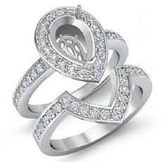 1.4 Ct Diamond Engagement Halo Ring Pear Bridal Sets 14k White Gold Semi Mount