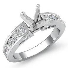0.75 Ct Round Diamond Channel Setting Engagement Semi Mount Ring 14k White Gold