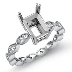 0.2Ct Diamond Engagement Eternity Ring Setting 14K White Gold Radiant Semi Mount