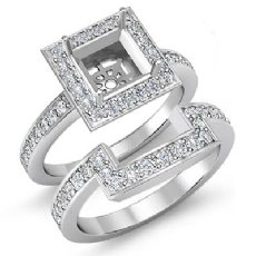 1.4Ct Diamond Engagement Ring Princess Bridal Set 14K White Gold Halo SemiMount