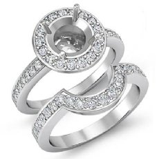 1.4Ct Diamond Engagement Ring Round Bridal Sets 14K White Gold Pave Semi Mount