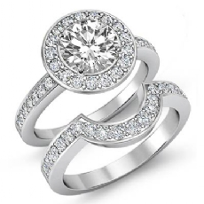 Wedding Halo Bridal Set Round diamond engagement Ring in 14k Gold White