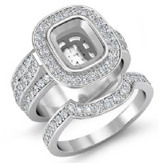2.3 Ct Diamond Engagement Ring Bridal Sets 14K White Gold Cushion Semi Mount