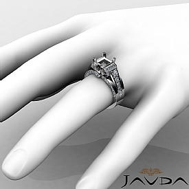 1.35C Diamond Engagement Semi Mount Ring 14k White Gold Knot Shape Shank Setting