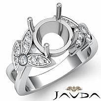 1/3 Ct Diamond Engagement Flower Style Ring Setting 14k Wh Gold Round Semi Mount
