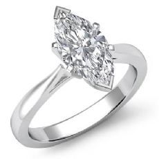 Classic Solitaire Tapered Marquise diamond engagement Ring in 14k Gold White