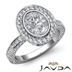 Bezel Halo Pave Set Filigree Oval diamond engagement Ring in 14k Gold White