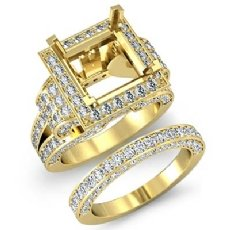 Diamond Engagement Ring Princess Halo Bridal Sets 14k Gold Yellow Setting (3.4Ct. tw.)
